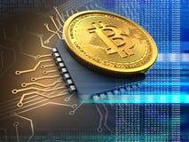 bitcoin 3d med CPU-blått Arkivbilder