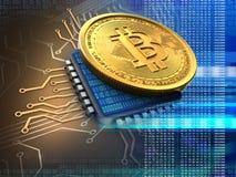 bitcoin 3d med CPU-blått Royaltyfria Bilder