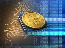 bitcoin 3d med CPU-blått Royaltyfria Foton