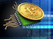 bitcoin 3d med CPU-blått Royaltyfri Foto