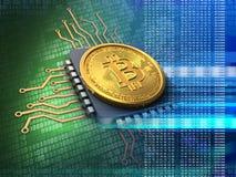 bitcoin 3d med CPU-blått Fotografering för Bildbyråer