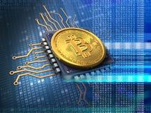 bitcoin 3d med CPU-blått Royaltyfri Illustrationer