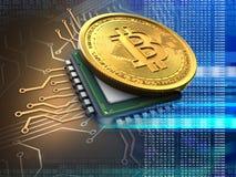 bitcoin 3d med CPU-blått Arkivbild