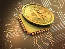 bitcoin 3d med CPU-guld Royaltyfri Fotografi