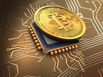 bitcoin 3d med CPU-guld Royaltyfri Foto