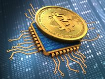bitcoin 3d med CPU-guld Royaltyfri Illustrationer