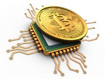 bitcoin 3d med CPU-guld stock illustrationer