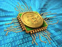 bitcoin 3d med CPU-guld Royaltyfria Foton