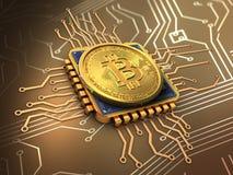 bitcoin 3d med CPU-guld Arkivbilder
