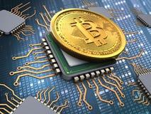 bitcoin 3d med processorer Royaltyfri Foto