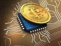 bitcoin 3d mit CPU Lizenzfreie Stockfotografie