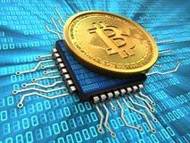 bitcoin 3d mit CPU Stockbilder
