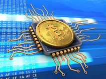 bitcoin 3d mit CPU Stockfoto