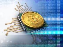 bitcoin 3d mit CPU-Blau Lizenzfreie Stockfotos