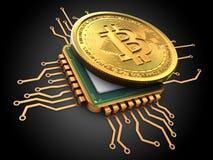 bitcoin 3d mit CPU-Gold Stockfotos