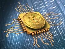 bitcoin 3d mit CPU-Gold Lizenzfreies Stockfoto