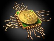 bitcoin 3d mit CPU-Gold Stockbilder