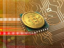 bitcoin 3d mit CPU-Orange Lizenzfreie Stockfotos