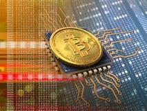 bitcoin 3d mit CPU-Orange stock abbildung