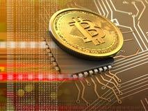 bitcoin 3d mit CPU-Orange Lizenzfreie Stockbilder
