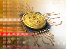 bitcoin 3d mit CPU-Orange Lizenzfreies Stockfoto