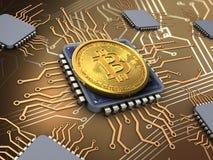 bitcoin 3d mit Prozessoren Stockfoto