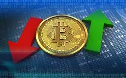 bitcoin 3d para cima e para baixo setas Foto de Stock Royalty Free