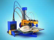 Bitcoin 3d printer on blue background. Image Stock Photos