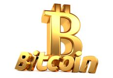 Bitcoin 3d que rende dourado isolado Fotos de Stock