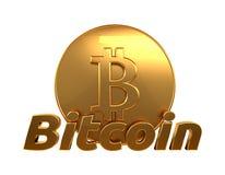 Bitcoin 3d que rende dourado isolado Foto de Stock Royalty Free