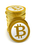 Bitcoin. 3d render of abstract bitcoin coins over white background stock illustration