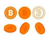 Bitcoin 3d sänker isometriska pengar Arkivbilder
