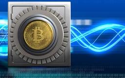 bitcoin 3d sicheres Metallsafe Stockbilder