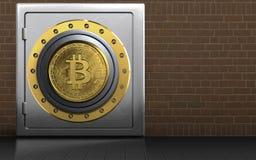bitcoin 3d sicheres Metallsafe Lizenzfreies Stockbild