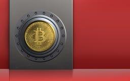 bitcoin 3d sicheres bitcoin Safe Lizenzfreie Stockfotos