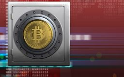 bitcoin 3d sicheres Safe Stockbild
