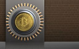 bitcoin 3d sicheres bitcoin Safe Stockfoto