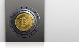 bitcoin 3d sicheres bitcoin Safe Lizenzfreie Stockfotografie