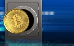 bitcoin 3d sobre o cyber Fotografia de Stock Royalty Free