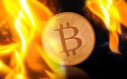 Bitcoin d'or sur le feu au-dessus du fond noir Photographie stock libre de droits