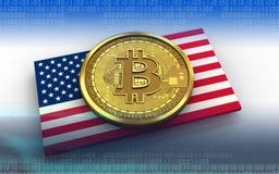 bitcoin 3d USA-Flagge Stockbilder