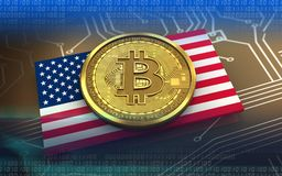 bitcoin 3d USA-Flagge Stockfoto