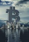 Bitcoin da cidade do negócio Fotos de Stock Royalty Free
