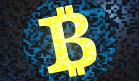 Bitcoin da ilustração do fundo 3d do dinheiro do Internet ilustração stock