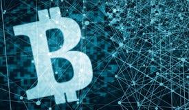 Bitcoin da ilustração do fundo 3d do dinheiro do Internet Ilustração Royalty Free