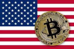 bitcoin da moeda da ilustração 3D na bandeira dos EUA Foto de Stock