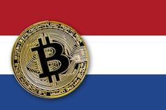 bitcoin da moeda da ilustração 3D na bandeira dos Países Baixos Imagens de Stock Royalty Free