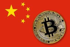 Bitcoin da moeda na bandeira de China Foto de Stock