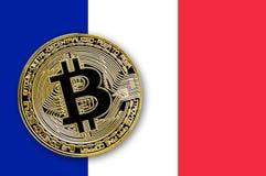 Bitcoin da moeda na bandeira de france Fotografia de Stock Royalty Free