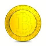Bitcoin da moeda no fundo branco Ilustração 3d isolada Imagem de Stock